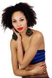 Cima della metropolitana della donna di colore pelata luce scarna Fotografie Stock