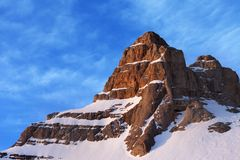 Cima della montagna ad alba Fotografia Stock