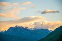 Cima della montagna di Prokletije al tramonto Fotografia Stock Libera da Diritti