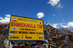 Cima di Khardungla in Ladakh, India Fotografia Stock Libera da Diritti