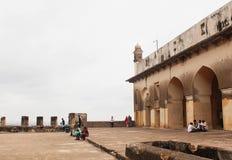 Cima la maggior parte della vista della fortificazione di Golkonda Fotografia Stock Libera da Diritti
