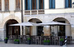 Cima Square, terrace in Conegliano Veneto, Treviso, Italy. Cima Square, facade of oudoors , historical decorative buildings, scuplture, placed in the centre of royalty free stock photography