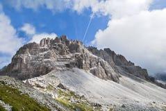 Cima Undici en montagnes de dolomites Photos stock