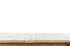 Cima vuota della tavola o del contatore di legno isolato su backgroun bianco fotografie stock libere da diritti