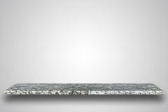 Cima vuota della tavola o del contatore di pietra naturale su fondo in bianco fotografia stock libera da diritti