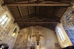 Cimabue,三塔Croce大教堂,佛罗伦萨,内部细节耶稣受难象  免版税库存照片