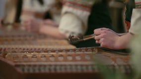 Cimbalom,音乐会锤击了洋琴 关闭 股票视频