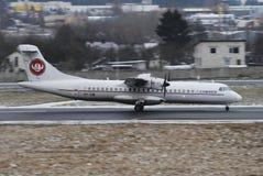 Cimber Air. Landing at Vilnius Intl airport Royalty Free Stock Image
