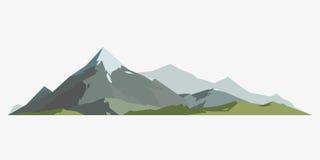 Cime all'aperto del ghiaccio della neve dell'icona dell'elemento maturo della siluetta della montagna e scalata di campeggio isol Fotografia Stock