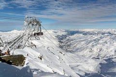 Cime Caron in Val Thorens. Cime de Caron is a mountain of Savoie, France. It lies in the Massif de la Vanoise range. It has an elevation of 3,195 metres above Stock Photo