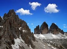 CIME de Tre di Lavaredo avec Paternkofel Image libre de droits