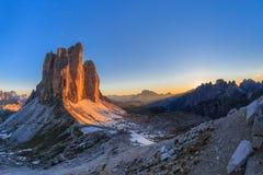 Cime de Tre MONTAN@AS DE LA DOLOMÍA, ITALIA Fotos de archivo libres de regalías