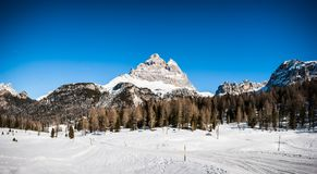 The Cime di Lavaredo seen from the trail from Lago d`Antorno, near Cortina D`Ampezzo, Dolomites, Italy royalty free stock images