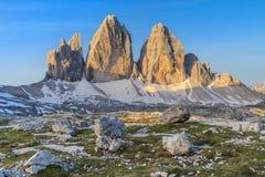 CIME di Tre ALPI DELLA DOLOMIA, ITALIA Immagini Stock