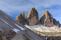 CIME di Tre ALPI DELLA DOLOMIA, ITALIA Fotografia Stock