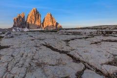 CIME di Tre ALPI DELLA DOLOMIA, ITALIA Fotografia Stock Libera da Diritti