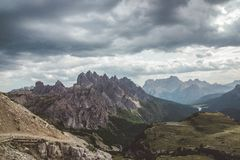 Cime. Mountains overlooking Tre Cime, Trentino, Italy Royalty Free Stock Photography