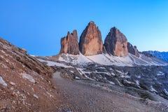 Cime van Tre DE ALPEN VAN HET DOLOMIET, ITALIË royalty-vrije stock foto's