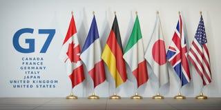 Cimeira G7 ou conceito da reunião Enfileire das bandeiras dos membros do G7 GR ilustração do vetor