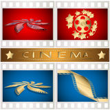 Cimema. The film image in various variants in one collection on red and dark blue background Royalty Free Stock Images