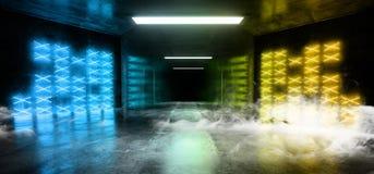 Cimento concreto escuro moderno de incandescência amarelo azul de néon Asphalt Futuristic Spaceship Underground do laser Sci Fi d ilustração royalty free