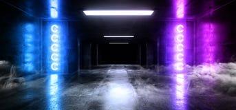 Cimento concreto escuro moderno de incandescência roxo azul de néon Asphalt Futuristic Spaceship Underground do laser Sci Fi do e ilustração royalty free