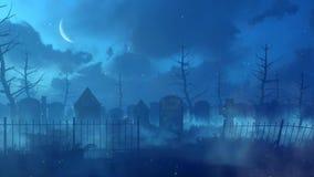 Cimetière abandonné avec les lumières magiques la nuit illustration stock