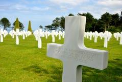 Cimetière américain de guerre chez Omaha Beach Photographie stock libre de droits