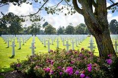 Cimetière américain en Omaha Beach, Normandie, France image libre de droits