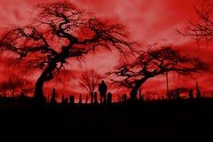Cimetière avec le ciel de feu d'enfer et les arbres effrayants. Images stock