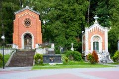 Cimetière commémoratif de Lychakiv à Lviv Un cimetière luthérien antique avec des statues et l'architecture gothique photographie stock