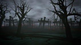 Cimetière de nuit d'horreur, tombe Clair de lune Concept de Veille de la toussaint animation 3D illustration de vecteur