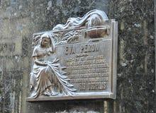 Cimetière de Recoleta de La Le site grave d'Evita Peron images stock