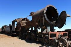 Cimetière de train dans Uyini, Bolivie Photographie stock