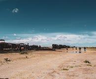Cimetière de train en Salar de Uyuni photo libre de droits