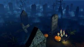 Cimetière effrayant de nuit avec les potirons 4K de Halloween banque de vidéos