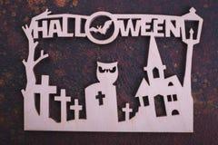 Cimetière en bois d'entaille, texte Halloween photo libre de droits