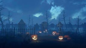 Cimetière fantasmagorique de nuit avec les potirons 4K de Halloween clips vidéos