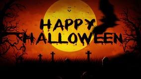 Cimetière hanté rempli par batte Halloween heureux illustration de vecteur