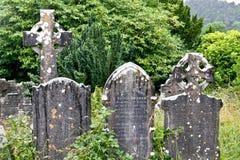 Cimetière médiéval du comté, Glendalough, comté Wicklow, Irlande Photo stock