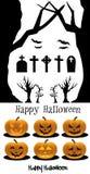 Cimetière réglé de potirons de Halloween Photo stock
