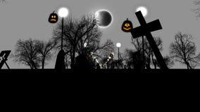 Cimetière sinistre avec les tombes ruinées Halloween Image stock