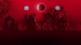 Cimetière sombre avec trois tombes Halloween Images libres de droits