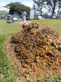 Cimetière : tombe neuve et vieilles pierres tombales Photo stock