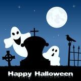 Cimetière de Halloween avec des fantômes et des chats Photo stock