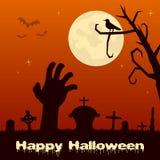 Cimetière de Halloween avec la main de zombi Photographie stock