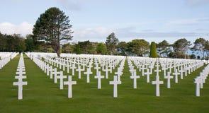 Cimitero americano alla spiaggia di Omaha, Normany Francia Fotografie Stock Libere da Diritti