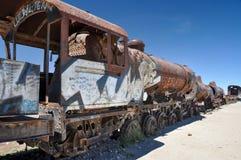 Cimitero arrugginito del treno in Uyuni, Bolivia Fotografie Stock Libere da Diritti