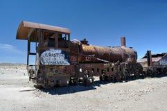 Cimitero arrugginito del treno in Uyuni, Bolivia Immagine Stock Libera da Diritti