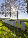 Cimitero britannico WW1 di guerra Fotografie Stock